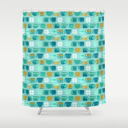 Snow Day Mugs - Teal Shower Curtain