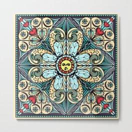 Vintage Style Sun Mandala Metal Print
