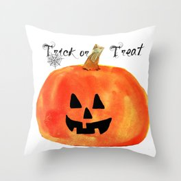 Trick or Treat Jack-O-Lantern, Halloween Pumpkin Throw Pillow