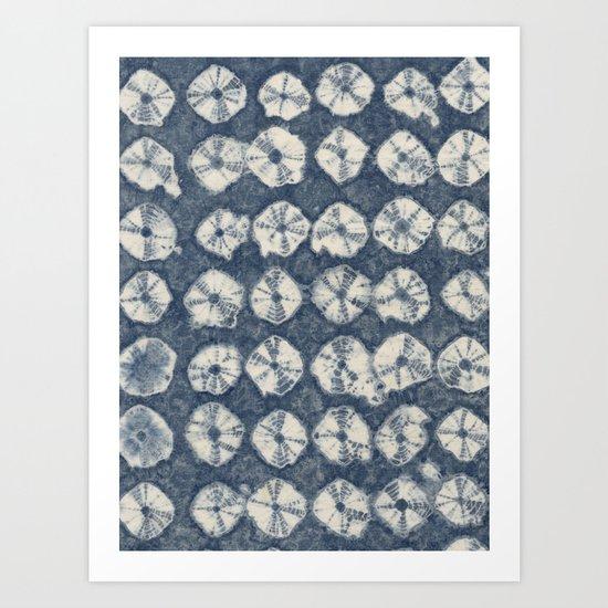 Indigo Spiderweb Shibori Art Print