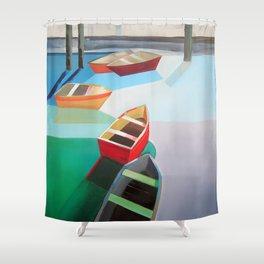 Five Boats Shower Curtain