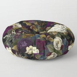 Dutch Vintage Midnight Flower Garden  Floor Pillow