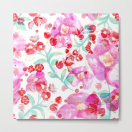 Summer watercolor flowers hot pink blossom Metal Print