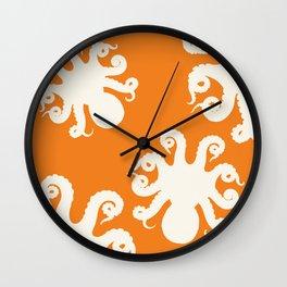 Orange Octopus Wall Clock