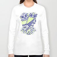 lime Long Sleeve T-shirts featuring Owls – Navy & Lime by Cat Coquillette