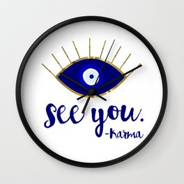 Evil Eye See You Karma Wall Clock