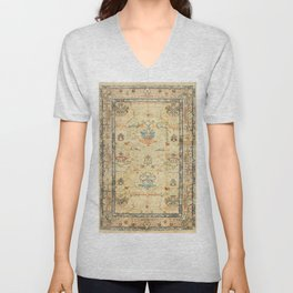 Fine Crafted Old Century Authentic Colorful Yellow Dusty Blues Greys Vintage Rug Pattern Unisex V-Neck
