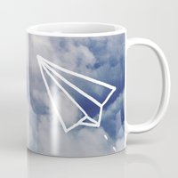 plane Mugs featuring Paper Plane by Leah Flores