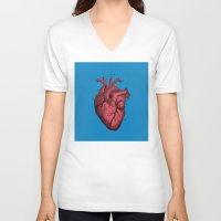 anatomical heart V-neck T-shirts featuring Vintage Anatomical Heart Illustration by Digital Crafts