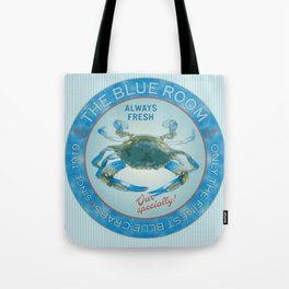 Retro Vintage Advertising Inspired Seafood Ad for Blue Crabs Tote Bag