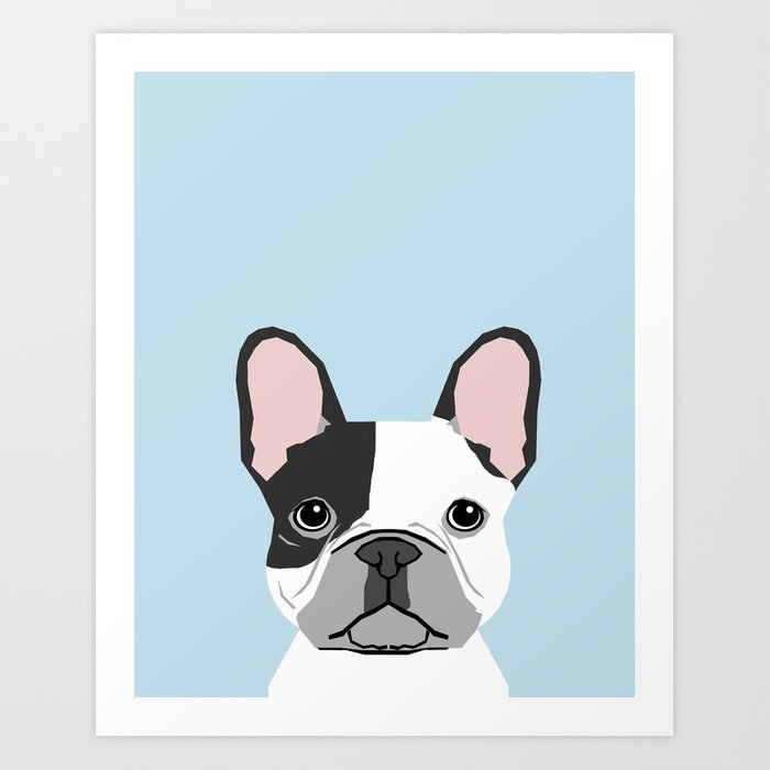 French Bulldog Art Portrait Aqua Light Blue Cute Dog Design Art