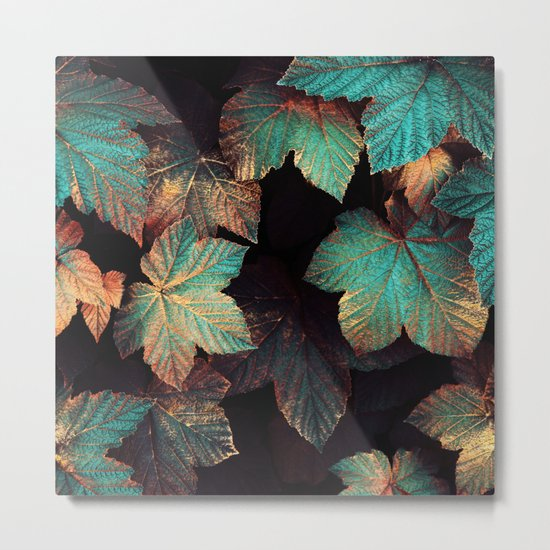 Copper And Teal Leaves Metal Print