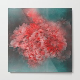 Abstract Red Flowers Metal Print