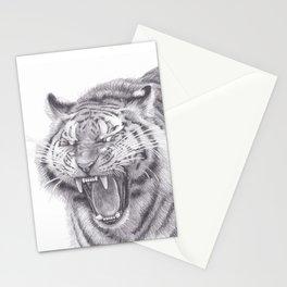 Bengal Tiger Roaring - Big Wild Cat Animal Artwork Drawing Stationery Cards