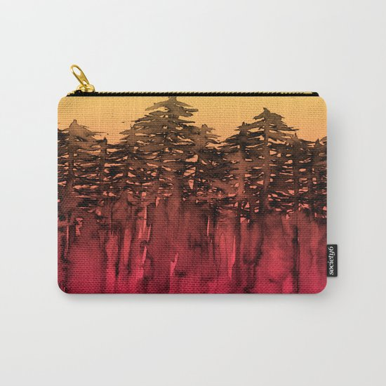 FOREST THROUGH THE TREES 12 Hot Pink Magenta Orange Black Landscape Ombre Abstract Painting Outdoors Carry-All Pouch