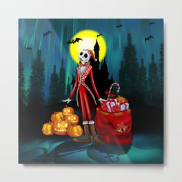 Halloween Jack santa claus Skellington iPhone 4 4s 5 5c 6, ipod, ipad, pillow case Metal Print