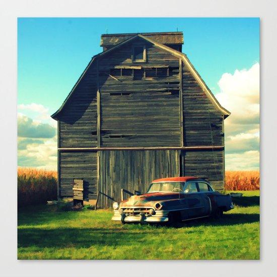 1950 Cadillac & Barn Canvas Print