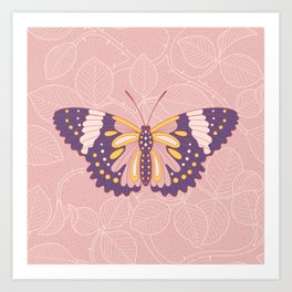 Butterfly in pink background from rose Art Print