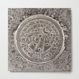 Sepia New Orleans Water Meter Louisiana Crescent City NOLA Water Board Metalwork Metal Print
