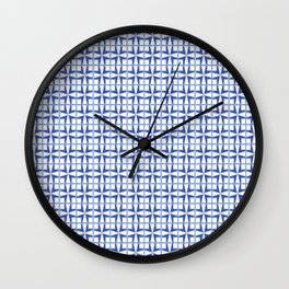 Squares and triangles pattern blue Wall Clock