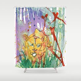 Lonely Lion Hearts Shower Curtain