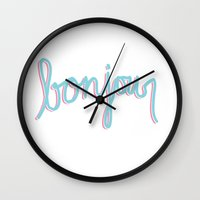 bonjour Wall Clocks featuring Bonjour by radiantlee