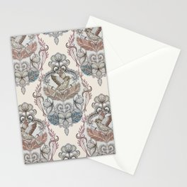 Woodland Birds - hand drawn vintage illustration pattern in neutral colors Stationery Cards