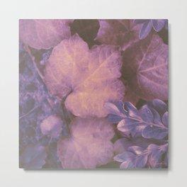 Blue Purple and Violet Autumn Leaves Metal Print