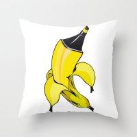 banana Throw Pillows featuring Banana  by Gaby Yerden