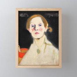 Self Portrait with Black Background - Helene Sofia Schjerfbeck Framed Mini Art Print
