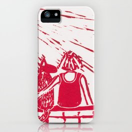 Girl with dog iPhone Case