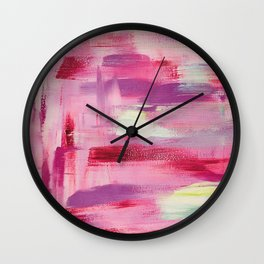Burning desire: minimal, acrylic abstract painting in magenta, cerise and violet / Variation Four Wall Clock