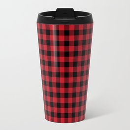 Plaid pattern red and black minimal modern cabin rustic decor nature inspired themed decor Travel Mug