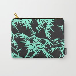 Modern black teal watercolor bamboo pattern  Carry-All Pouch