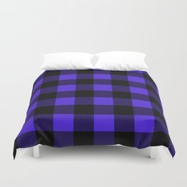 Midnight Blue and Black Buffalo Plaid Duvet Cover