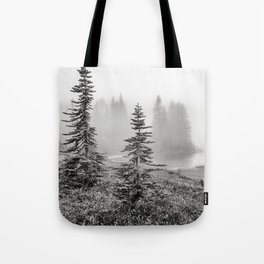 Scenic Landscape Art, Lakeside Wilderness, Fog Tote Bag