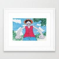 luffy Framed Art Prints featuring Monkey Art Luffy by DeMoose_Art