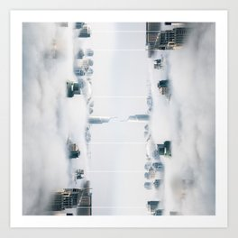 City surreal reflection Art Print