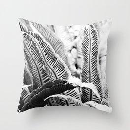 monochrome fern Throw Pillow