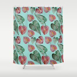 Botanical on Turquoise. Tropical Plants. Shower Curtain