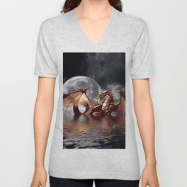 Mystical Dragon and Moon Fantasy Design Unisex V-Neck