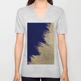 Navy blue abstract faux gold brushstrokes Unisex V-Neck