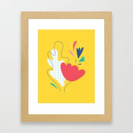 Abstract flower and leaves bouquet Framed Art Print