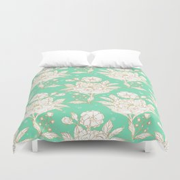 stylish golden and mint floral strokes design Duvet Cover