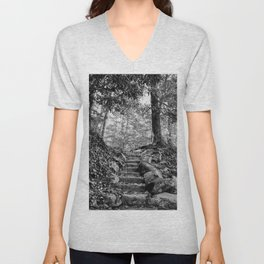 Rock Stairway Cades Cove Tennessee by Alli Gunter Photography Unisex V-Neck