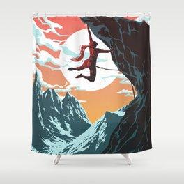 Rock Climbing Girl Vector Art Shower Curtain