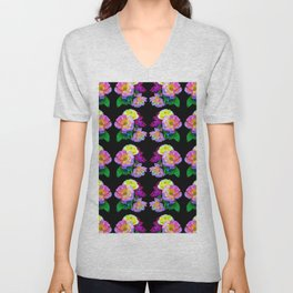Rosa Yellow Roses on Black Pattern Unisex V-Neck
