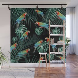 Parrots in the Tropical Jungle Night #2 #tropical #decor #art #society6 Wall Mural