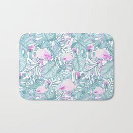 Neon pink green watercolor flamingo tropical leaves Bath Mat