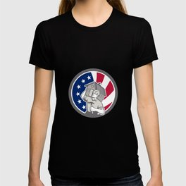 American Building Contractor USA Flag Icon T-shirt